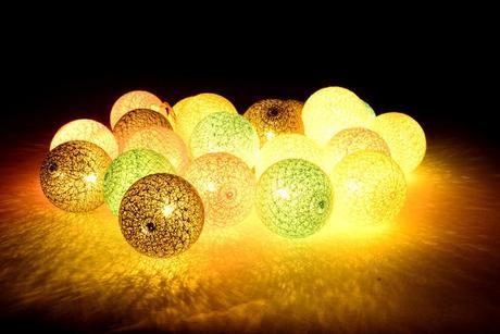 Svetelná reťaz Cotton balls mint pink 20 ks,