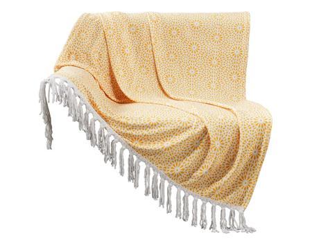 Žltá vzorovaná deka so strapcami,