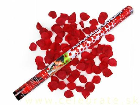 Vystreľovacie konfety Bordové plátky ruží,