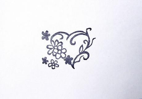 Květinové srdce - razítko.,