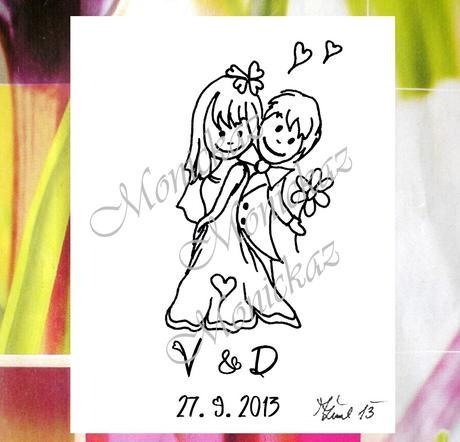 Svatební č. 33 s iniciály a datem. Omyv. razítko,