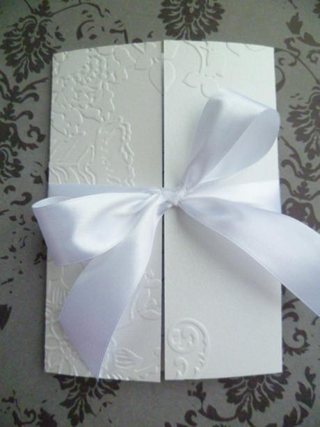 Svatební oznámení bílé,perleť se vzorem,