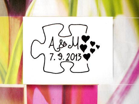 Svatební puzzle. Omyvatelné razítko.,