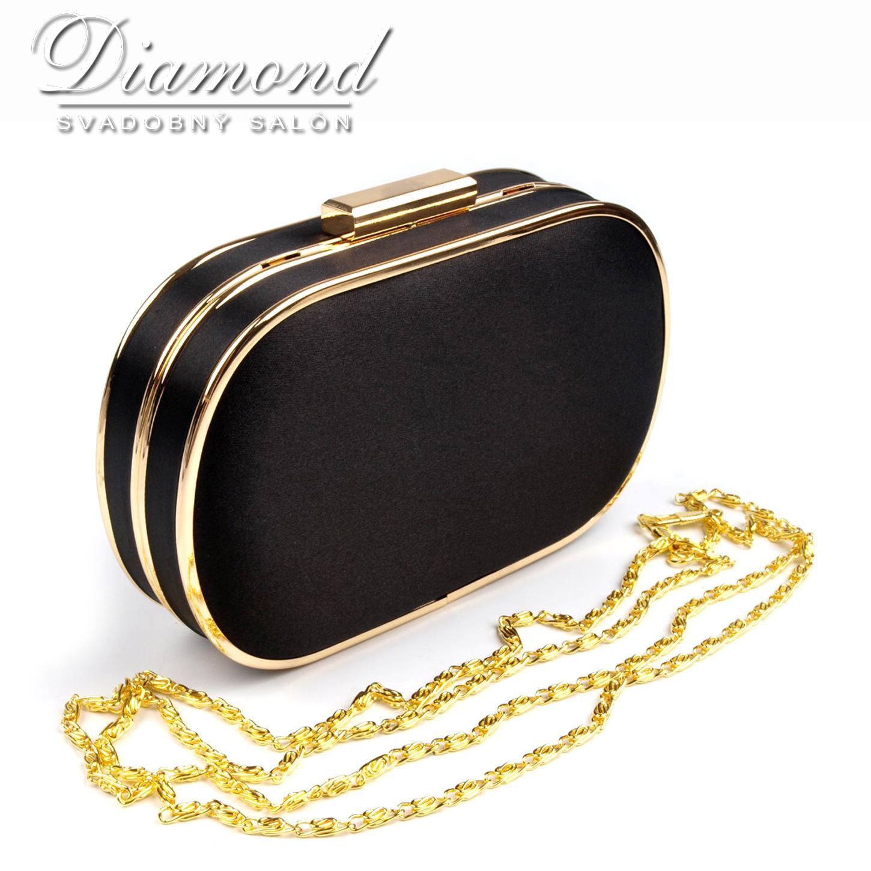 7a56df19b9 Čierno-zlatá saténová kabelka