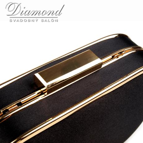 Čierno-zlatá saténová kabelka,