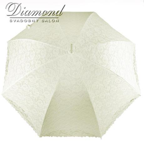 Čipkovaný dáždnik biely a krémový,