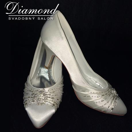 Krémové svadobné topánočky s kamienkami, 38