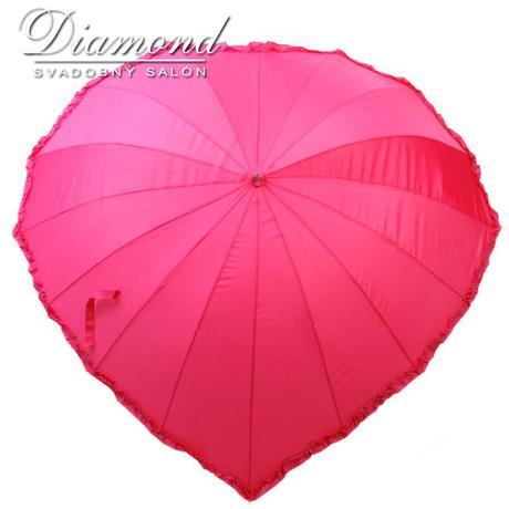 Romantický dáždnik v tvare srdca - cyklamenový,