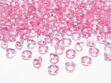 Dekoračné diamanty svetloružové,