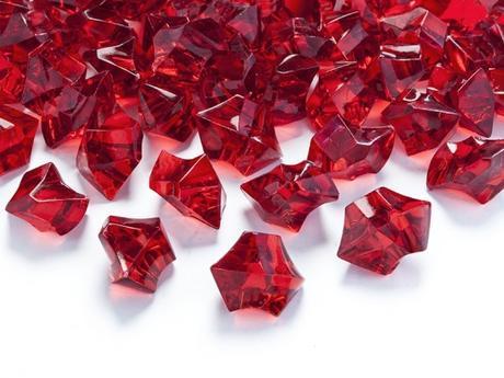 Dekoračné kryštály červené,