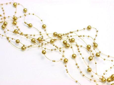 Perlová girlanda zlatá (5ks),