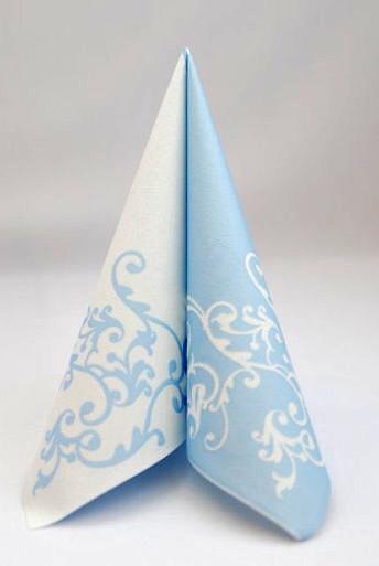 Servítka z netkanej textílie bielo-modrá,