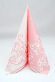 Servítka z netkanej textílie bielo-ružová,