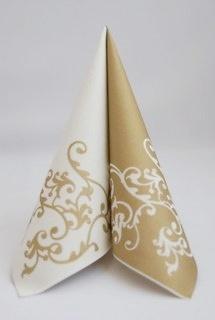 Servítka z netkanej textílie bielo-zlatá,