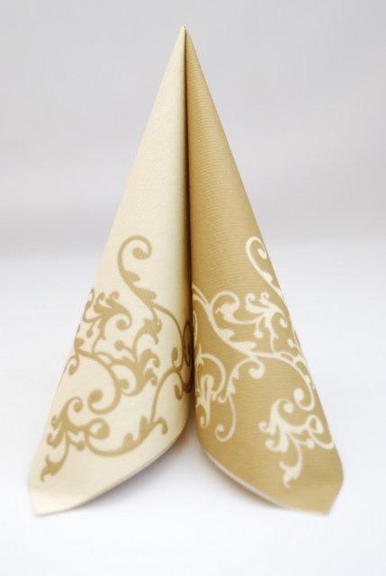 Servítka z netkanej textílie krémovo-zlatá,