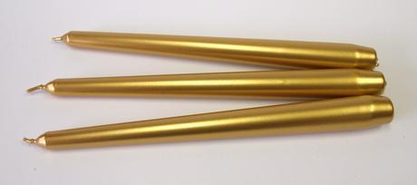 Sviečka kónická zlatá 25cm,