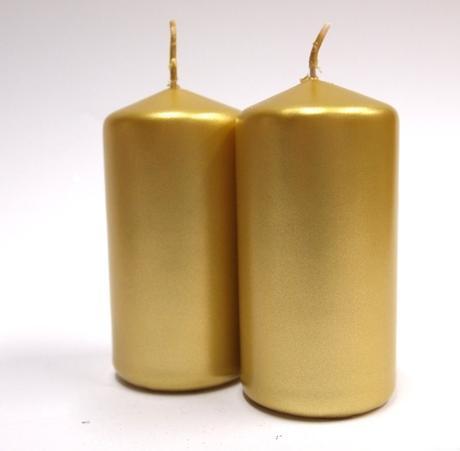 Sviečka valec zlatý 10cm,