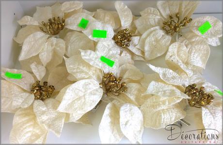 Vianočná ruža na štipci krémová,