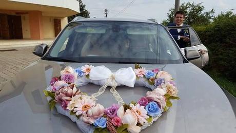Srdiečko na auto + ružičky na kľučky,