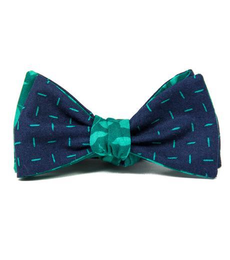 Modro-zelený oboustranný vázací motýlek,
