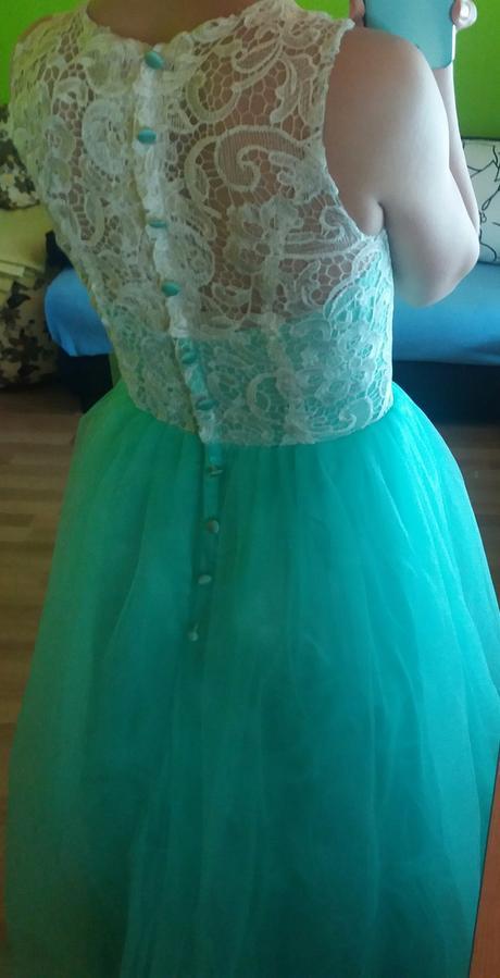 Tyrkysové tylové šaty s čipkou 36, 36