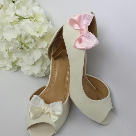 Barevné klipy na boty pro nevěstu - kanzashi,