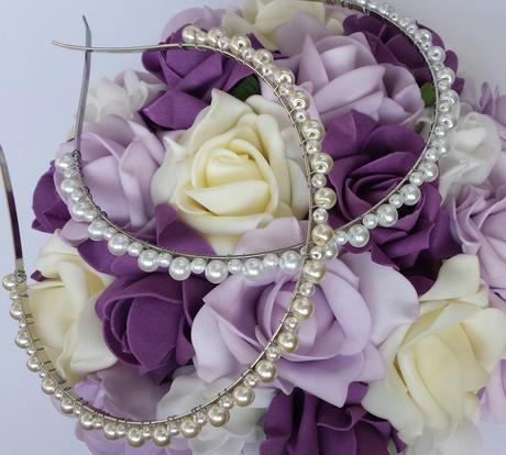 Bílá mašle na zrcátka/kliky lila květinka vel. L,