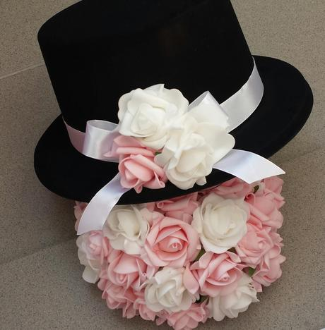 Bílá mašle na zrcátka/kliky růžová květinka vel. L,