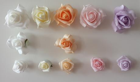 Bílá mašle na zrcátka/kliky růžová květinka vel.S,