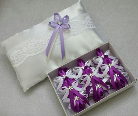 BÍLÁ mašle na zrcátka levandulový květ vel.XL,