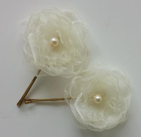 Bílá organzová svatební čelenka,