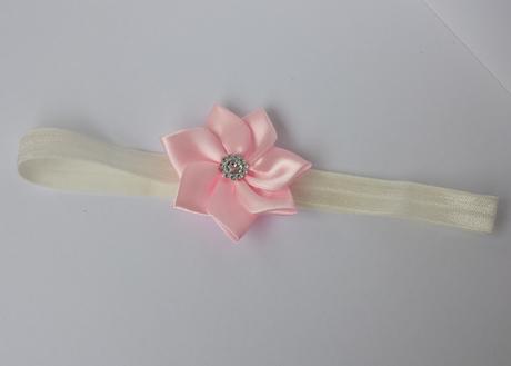 Čelenka pro malou družičku růžový kanzashi kvítek,