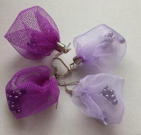 Fialové / lila organzové naušnice ,