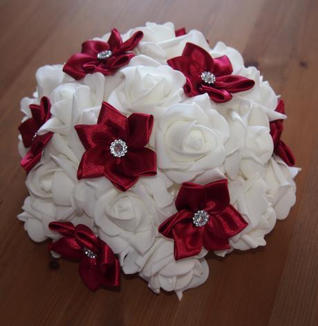 Kanzashi buket na svatební auto bordó + bílá ,