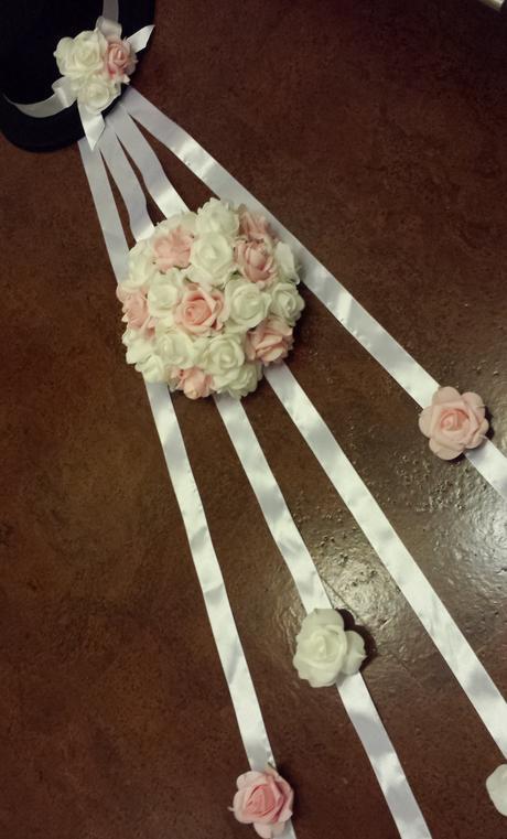 Klipy na boty pro nevěstu s růžovou mašličkou,
