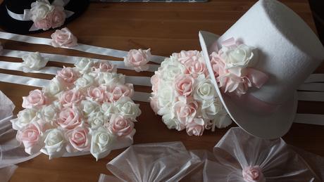 Klipy na boty pro nevěstu s šampaň mašličkou,