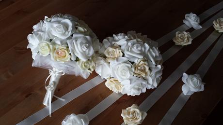Klipy na boty pro nevěstu se žlutou mašličkou,