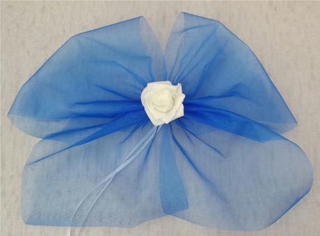 Krajkový bílo/tmavě modrý SW podvazek , 42