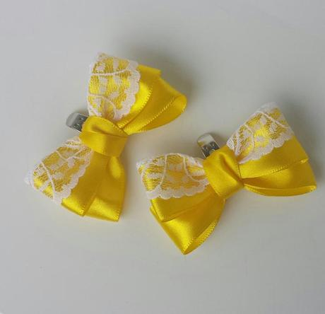 Krajkový ivory SW podvazek - žlutá stuha XS - XL, 42