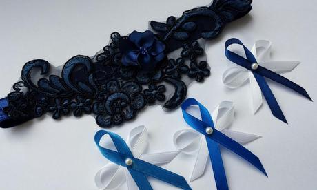 Krajkový tmavě modrý SW podvazek, 42