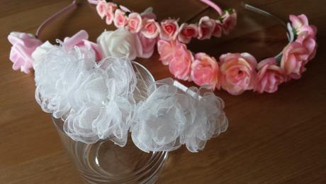 Růžová květinová svatební čelenka,