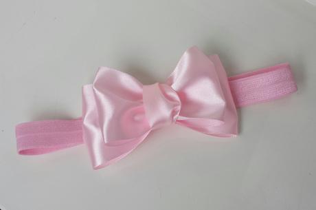 Růžová mašličková čelenka,