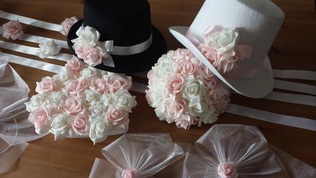 Růžové svatební vývazky,