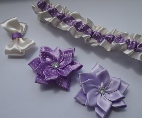 Tyrkysové klipy na boty pro nevěstu - kanzashi ,