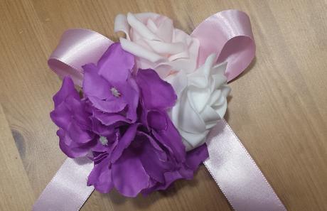 XXL Buket na svatební auto lila a bílá,