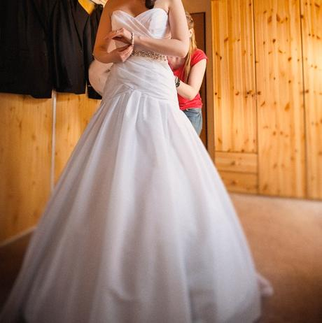 JASMINE bridal svadobne saty s vlečkou a opaskom, 36