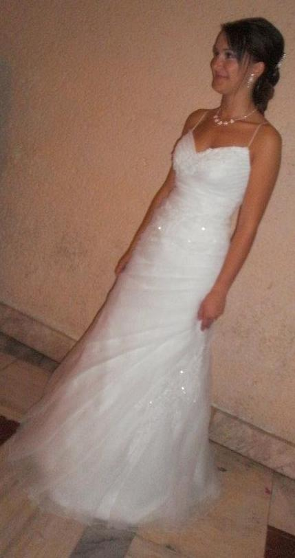 snehobiele svadobné šaty 36-38 +bolerko+spodnica, 36