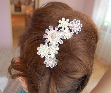 Hřebínek do vlasů s fialovými kamínky,