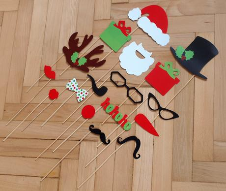 Vánoční rekvizity do fotokoutku, 17ks,