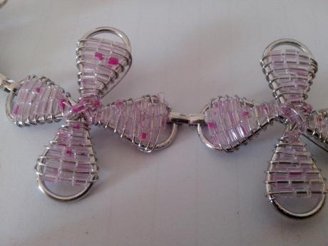 Náramok s perličkami-gossamer pink,